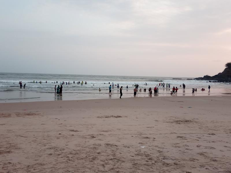 People at the Baga beach on Thursday 28 May. (Photo: Pamela D'Mello)