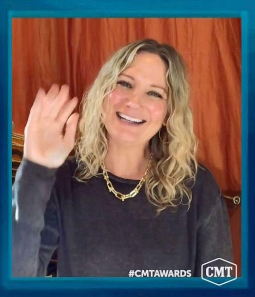 PHOTO: In this video image provided by CMT, Jennifer Nettles accepts the CMT Equal Play Award during the Country Music Television awards airing on Oct. 21, 2020. (CMT via AP)