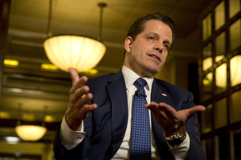 "Former White House communications director Anthony Scaramucci poses for a photograph after an interview with the Associated Press in Jerusalem, Monday, Nov. 20, 2017. Scaramucci told The Associated Press on Monday that although he has not spoken to Donald Trump in over a month, he talks to the president's inner circle ""regularly"" and considers himself a media ""surrogate"" for the administration. (AP Photo/Ariel Schalit)"