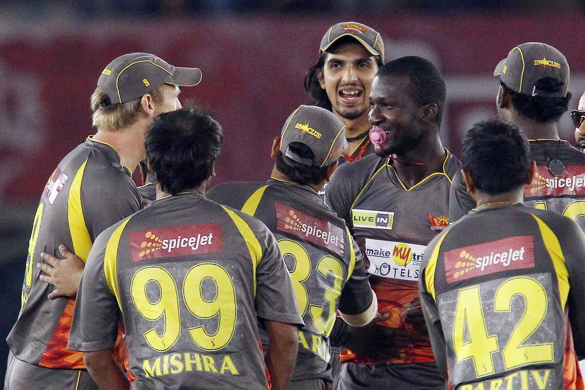 Darren Sammy celebrates the wicket of David Miller during match 59 of of the Pepsi Indian Premier League between The Kings XI Punjab and the Sunrisers Hyderabad held at the PCA Stadium, Mohali, India  on the 11th May 2013.(BCCI)