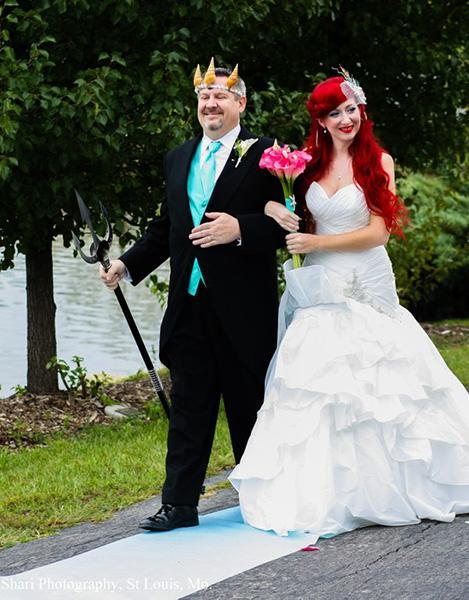 "Jamie's father walked his daughter down the aisle dressed as King Triton to an instrumental version of The Little's Mermaid's ""Part of Your World."""