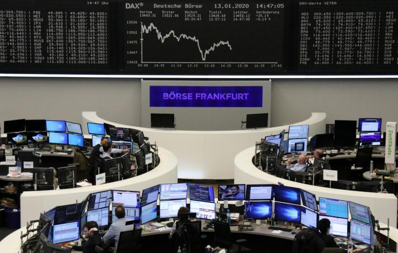 European shares fall on China virus fears, German morale offers soft landing