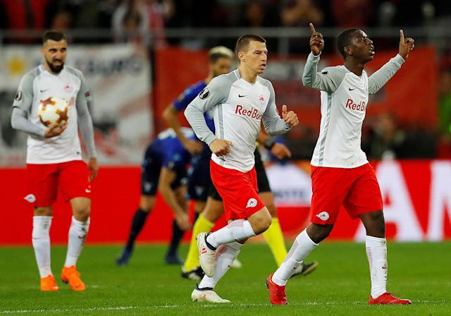 Soccer Football - Europa League Quarter Final Second Leg - RB Salzburg v Lazio - Red Bull Arena, Salzburg, Austria - April 12, 2018 RB Salzburg's Amadou Haidara celebrates scoring their second goal REUTERS/Leonhard Foeger