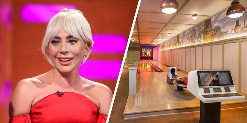 "<p>When Lady Gaga gets the urge to bowl, she doesn't even have to leave home. The entertainer reportedly has a bowling alley in her <a href=""https://www.elledecor.com/celebrity-style/celebrity-homes/news/a2513/lady-gagas-new-malibu-mansion-bowling-alley/"" rel=""nofollow noopener"" target=""_blank"" data-ylk=""slk:Malibu, California, home"" class=""link rapid-noclick-resp"">Malibu, California, home</a>. The home has five bedrooms and seven bathrooms, and the European-inspired property is equipped with a bocce ball court, wine cellar, stables, and a saltwater pool.<br></p>"