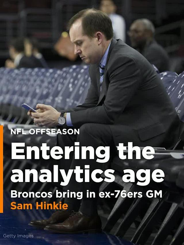 Former NBA general manager Sam Hinkie switched fields of play Thursday, visiting the NFL's Denver Broncos so they could pick his brain.
