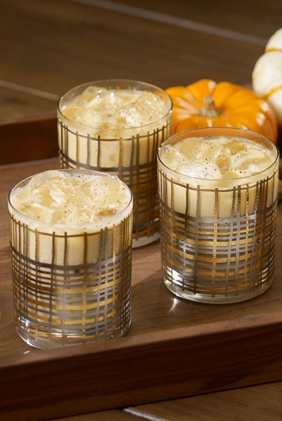 """<p><strong>Ingredients</strong></p><p>1 oz pumpkin spice Kahlua<br>2 oz vodka<br>1 oz heavy cream<br></p><p><strong>Instructions</strong></p><p>Rim rocks glass with sprinkles or sugar. Combine Kahlua, vodka, and cream into glass over ice. Stir lightly.</p><p><em>From </em><a href=""""http://www.wolfgangpuck.com/catering-events"""" rel=""""nofollow noopener"""" target=""""_blank"""" data-ylk=""""slk:Wolfgang Puck Catering"""" class=""""link rapid-noclick-resp""""><em>Wolfgang Puck Catering</em></a></p>"""