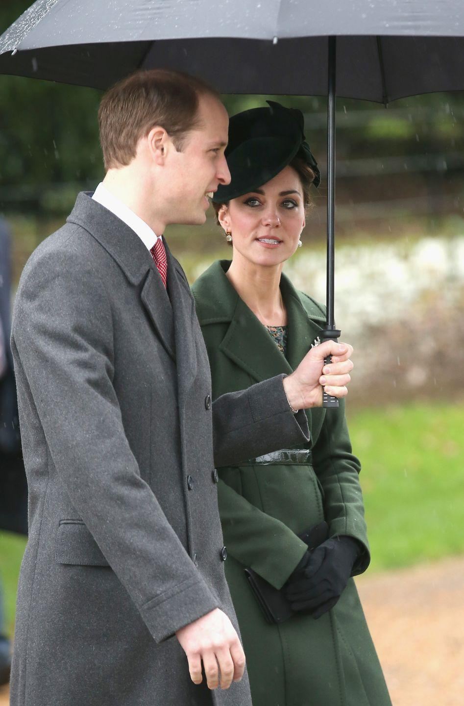<p>This is a different dark green coat by Sportmax (it's always nice to have more than one dark green coat option!), introduced to the world on Christmas at Sandringham in King's Lynn, England. Will held the umbrella, as he usually does. </p>