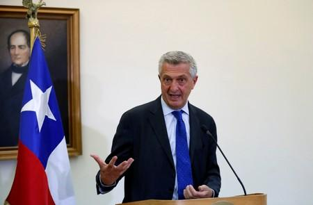 FILE PHOTO: U.N. High Commissioner for Refugees (UNHCR) Filippo Grandi speaks with the media after a meeting with the  Minister of Foreign Affairs of Chile, Teodoro Ribera, at the Ministry of Foreign affairs in Santiago