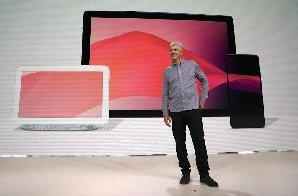 Rick Osterloh, Google's senior vice president of hardware, speaks in front of the the Pixel Slate and other new products at a media event in New York on October 9, 2018, a day after Google faced a backlash over failing to disclose a privacy flaw (AFP Photo/TIMOTHY A. CLARY)