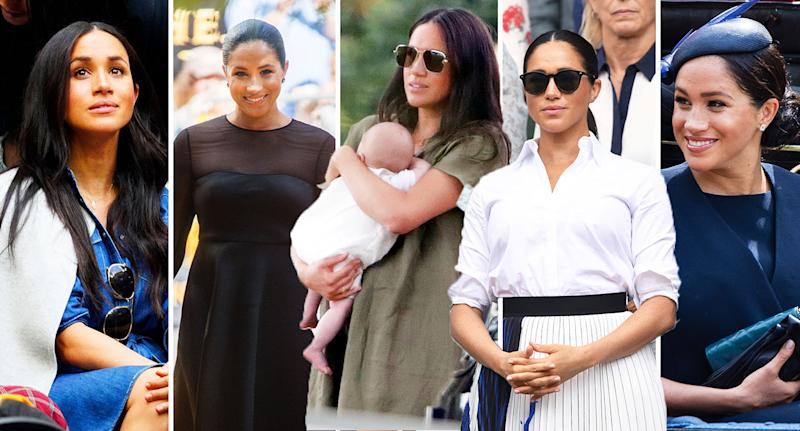 Meghan Markle has made five public appearances since giving birth to Archie. From left, pictured at the US Open; 'The Lion King' premiere; watching Harry at the Polo; Wimbledon; and the Trooping the Colour. [Photo: Getty]