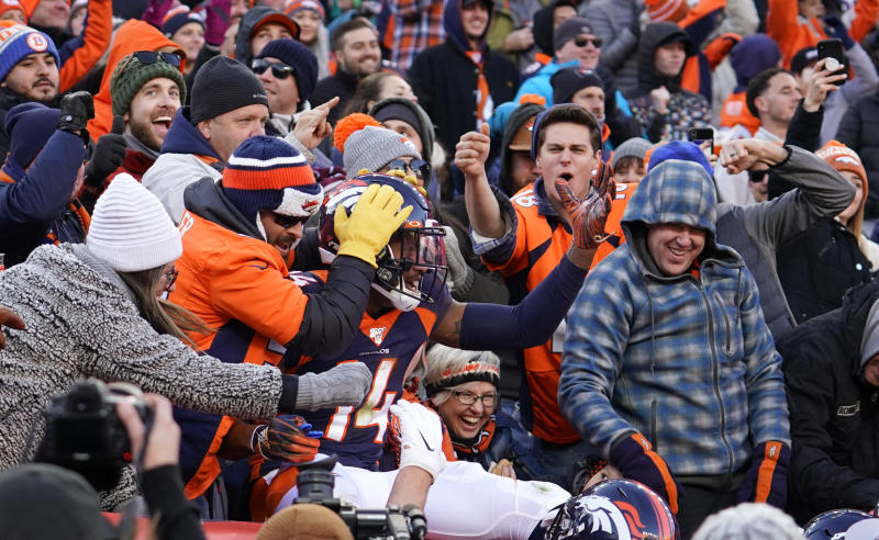 Denver Broncos wide receiver Courtland Sutton celebrates his touch down against the Los Angeles Chargers during the first half of an NFL football game Sunday, Dec. 1, 2019, in Denver.This was Denver Broncos quarterback Drew Lock's first touchdown pass. (AP Photo/Jack Dempsey)