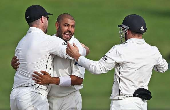 HAMILTON, NEW ZEALAND - MARCH 28: Jeetan Patel of New Zealand is congratulated on taking the wicket of Hashim Amla of South Africa during day four of the Test match between New Zealand and South Africa at Seddon Park on March 28, 2017 in Hamilton, New Zealand. (Photo by Dave Rowland/Getty Images)