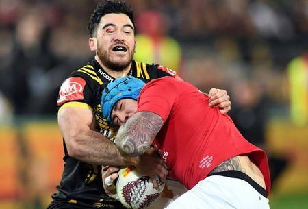 Rugby Union - British and Irish Lions v Wellington Hurricanes - Wellington, New Zealand - June 27, 2017 - British and Irish Lions player Jack Nowell is tackled by Nehe Milner-Skudder of the Wellington Hurricanes. REUTERS/Stringer