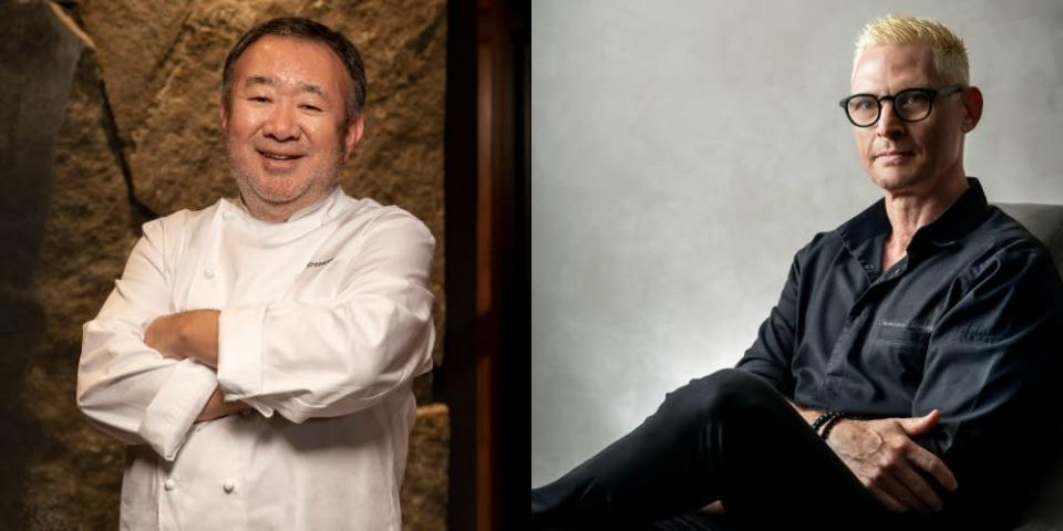 Collage of two of the 2 MICHELIN star recipients