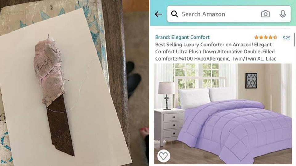 A mother from the US purchased a comforter from Amazon for her daughter and found a blade sewn inside. Source: Facebook