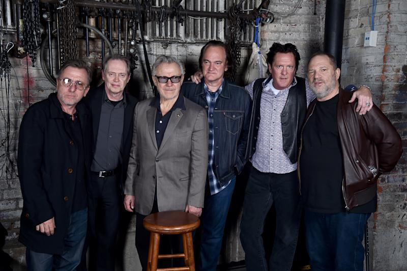 Actors Tim Roth, Steve Buscemi, Harvey Keitel, Quentin Tarantino, Michael Madsen and producer Harvey Weinstein pose during 2017 Tribeca Film Festival on April 28, 2017. (Theo Wargo via Getty Images)