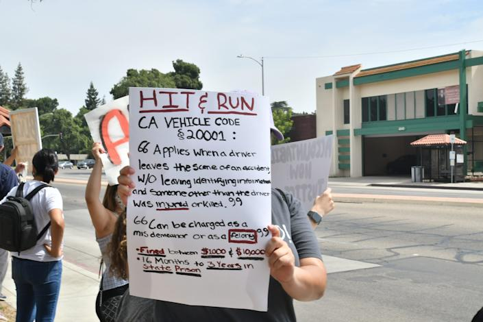 Protesters peacefully gathered outside the Tulare County Superior Court in California Monday morning to call for the prosecution of occupants of a Jeep that struck two Visalia activists during a Saturday demonstration.