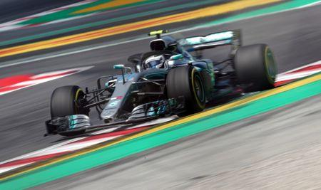 Mercedes' Lewis Hamiton tops second practice at Barcelona