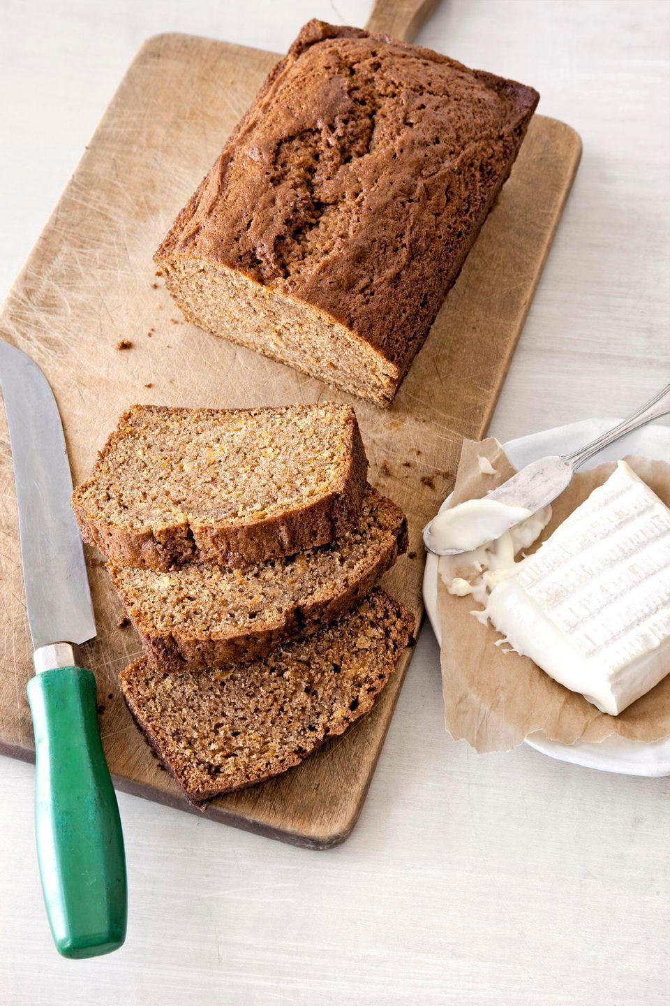 """<p>Try this moist bread with butter or a mild cheese—or dip it in pumpkin soup for an extra hearty experience.</p><p><strong><a href=""""https://www.countryliving.com/food-drinks/recipes/a2993/pumpkin-bread-recipe/"""" rel=""""nofollow noopener"""" target=""""_blank"""" data-ylk=""""slk:Get the recipe"""" class=""""link rapid-noclick-resp"""">Get the recipe</a>.</strong></p><p><strong>RELATED: <a href=""""https://www.countryliving.com/food-drinks/g619/our-best-pumpkin-recipes-1008/#slide-1"""" rel=""""nofollow noopener"""" target=""""_blank"""" data-ylk=""""slk:Best Savory Pumpkin Recipes"""" class=""""link rapid-noclick-resp"""">Best Savory Pumpkin Recipes</a></strong></p>"""