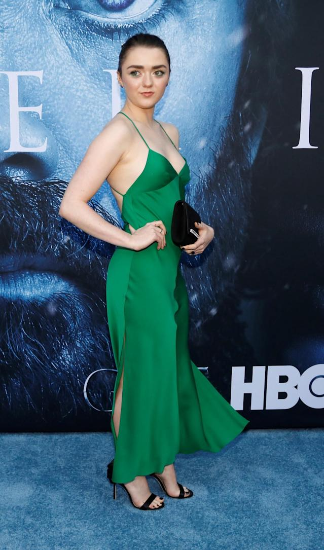 <p>Everyone's favorite badass wore a kelly green slip dress by Milly. (Photo: Reuters) </p>