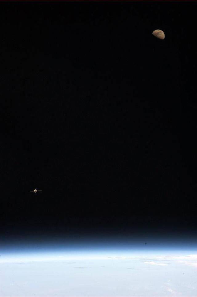 Earth, Moon and Soyuz: Kevin Ford took this picture as we approached Station last week. Science fiction into fact.