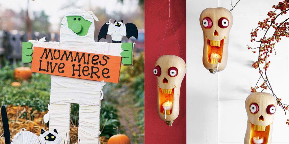 "<p>Instead of buying that huge, inflatable skeleton you saw at the store two days ago, why not make your own <a href=""https://www.womansday.com/halloween/"" target=""_blank"">Halloween</a> crafts to save you <em>tons</em> of money? Not only will you be protecting your pocket, but you'll get to spend quality time with your family as you all collaborate to turn your home into a spooky destination on Halloween night. With everything from DIY Halloween wreaths and <a href=""https://www.womansday.com/home/decorating/g331/4-no-carve-pumpkin-ideas-124409/"" target=""_blank"">no-carve pumpkin ideas</a> to <a href=""https://www.womansday.com/home/crafts-projects/how-to/g309/9-devilishly-fun-decorating-projects-110896/"" target=""_blank"">spooky decorations</a> and even decorated pillows, these <a href=""https://www.womansday.com/home/crafts-projects/g2490/halloween-kids-crafts/"" target=""_blank"">Halloween crafts</a> are so easy to make that even the kids can join. </p><p>You can find most of the materials you'll need to complete these Halloween crafts at <a href=""https://www.amazon.com/"" target=""_blank"">Amazon</a>, if you don't mind waiting a couple of days, or at craft stores, like <a href=""https://www.michaels.com/"" target=""_blank"">Michael's</a>. And if you're worried about making a mess, spread out newspaper all over your floors or lawn before spray painting your Halloween wreath. </p><p>So start getting ready for Halloween and scroll through for some easy DIY Halloween crafts that will make your home stand out this season.</p>"