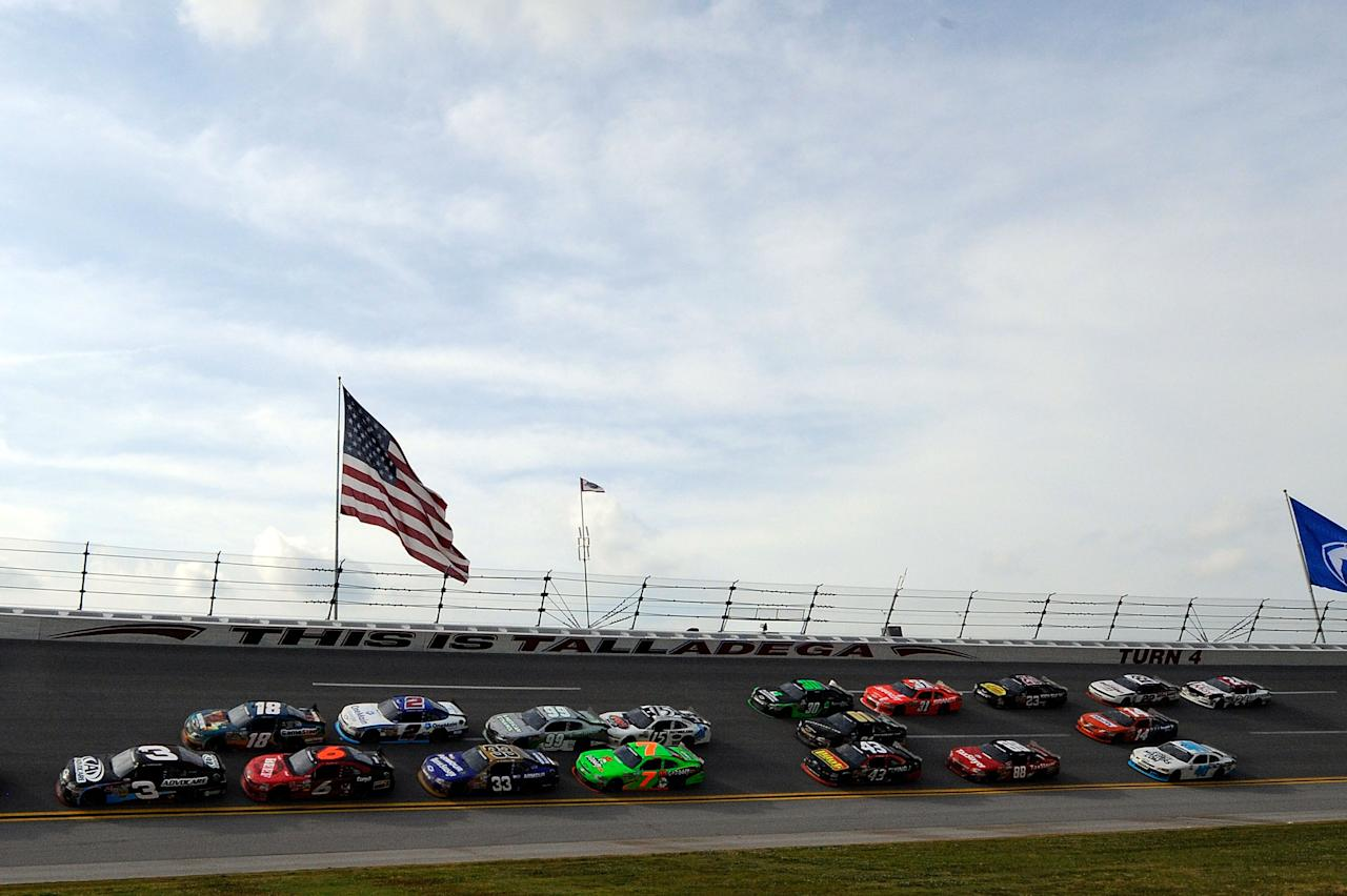 TALLADEGA, AL - MAY 05:  Cars race in turn four during the NASCAR Nationwide Series Aaron's 312 at Talladega Superspeedway on May 5, 2012 in Talladega, Alabama.  (Photo by John Harrelson/Getty Images for NASCAR)