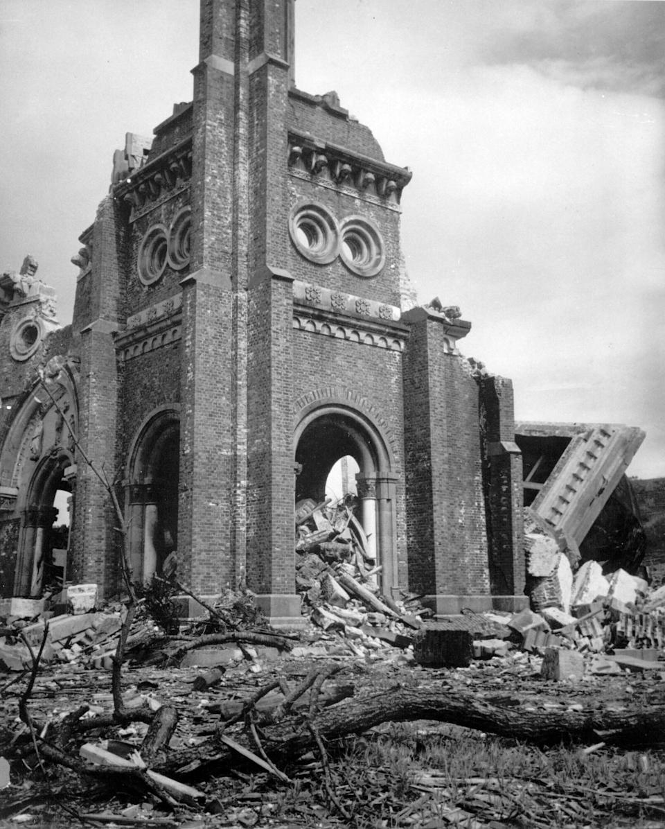 FILE - This 1945, file photo released by Corps of Engineers shows the destroyed Roman Catholic Church of Urakami in Nagasaki, Japan, after the second atomic bomb ever used in warfare was dropped by the U.S. over the Japanese industrial center. The city of Nagasaki in southern Japan marks the 75th anniversary of the U.S. atomic bombing of Aug. 9, 1945. Japan surrendered on Aug. 15, ending World War II and its nearly a half-century aggression toward Asian neighbors. Dwindling survivors, whose average age exceeds 83, increasingly worry about passing their lessons on to younger generations.(AP Photo, File)
