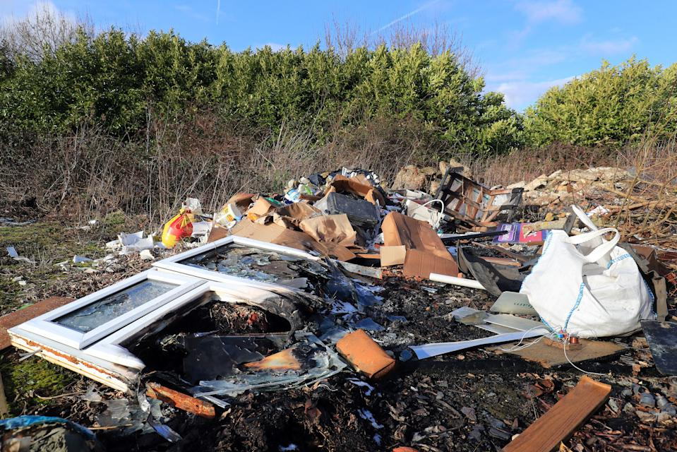 File photo dated 31/01/19 of a view of rubbish left by fly-tippers near Ashford in Kent, as charging householders to legally dump their rubbish could trigger a rise in the illegal practice of fly-tipping, environmental campaigners have warned.