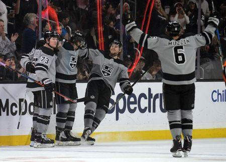 December 8, 2018; Los Angeles, CA, USA; Los Angeles Kings celebrate the goal scored by right wing Nikita Scherbak (21) against the Vegas Golden Knights during the first period at Staples Center. Gary A. Vasquez-USA TODAY Sports