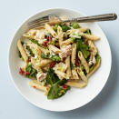 "<p>Need a quick pasta dish that's flavorful and colorful? This penne pasta dinner-for-two combines leeks, baby spinach, tuna and sun-dried tomatoes--and it's ready in just 20 minutes! <a href=""http://www.eatingwell.com/recipe/266597/italian-penne-with-tuna/"" rel=""nofollow noopener"" target=""_blank"" data-ylk=""slk:View recipe"" class=""link rapid-noclick-resp""> View recipe </a></p>"