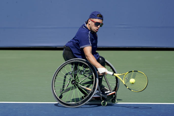 Dylan Alcott practices at the Billie Jean King National Tennis Center during the US Open tennis championships, Wednesday, Sept. 8, 2021, in New York. Alcottcan do something at the U.S. Open that even Novak Djokovic can't. The wheelchair star will try to complete the Golden Slam -- all four major titles plus the Paralympic gold medal in the same year -- when competition begins Thursday. (AP Photo/Elise Amendola)
