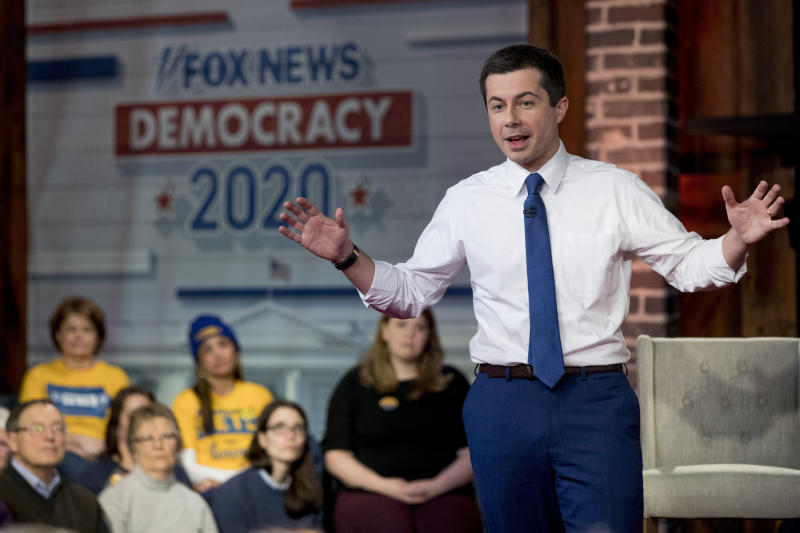 Democratic presidential candidate former South Bend, Ind., Mayor Pete Buttigieg speaks at a FOX News Channel Town Hall at the River Center, Sunday, Jan. 26, 2020, in Des Moines, Iowa. (AP Photo/Andrew Harnik)
