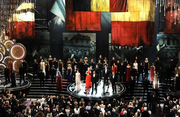 HOLLYWOOD, CA - FEBRUARY 24: Hugh Jackman and the cast of Les Miserables perform onstage during the Oscars held at the Dolby Theatre on February 24, 2013 in Hollywood, California. (Photo by Kevin Winter/Getty Images)