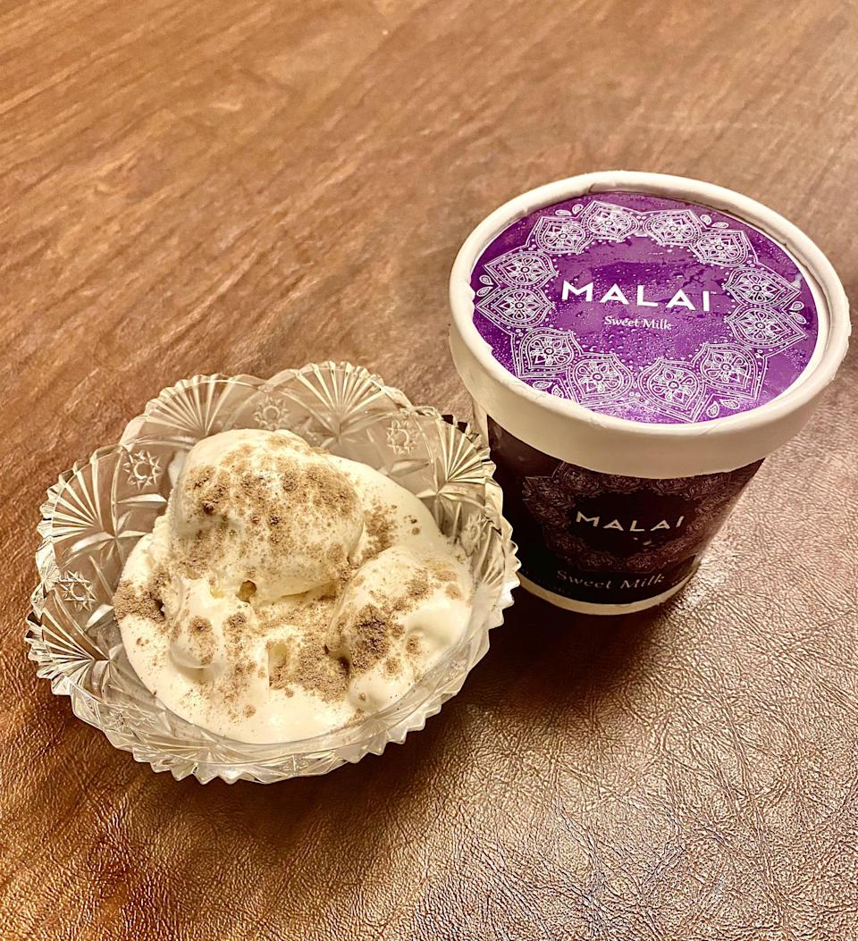 <p>The Sweet Milk pint is an unexpected favorite of mine. This simple yet decadent flavor from the <span>Kalamata Kitchen's Adventure Ice Cream Pack</span> ($89) is creamy and has the perfect amount of sweetness. By itself, it tastes exactly like an Indian dessert called kulfi. If you want to add a kick to it, I highly recommend adding a dash of the Spicewalla cardamom. It tastes exactly like a South Indian dessert called paal payasam, which roughly translates to milk pudding. The cardamom adds a distinct layer of sweet yet tart and peppery/smoky flavor to the sweet milk. If you like sweet, creamy flavors but want to try something new, something with an unexpected kick, I highly recommend this.</p>