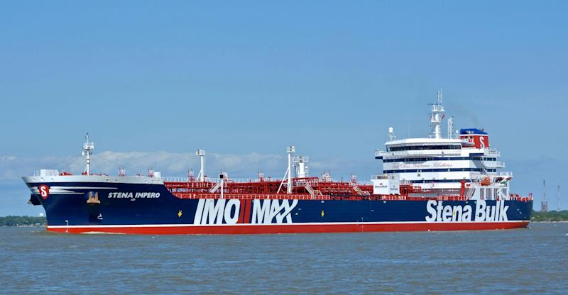 The British oil tanker Stena Impero at unknown location, which is believed to have been captured by Iran. (AP)