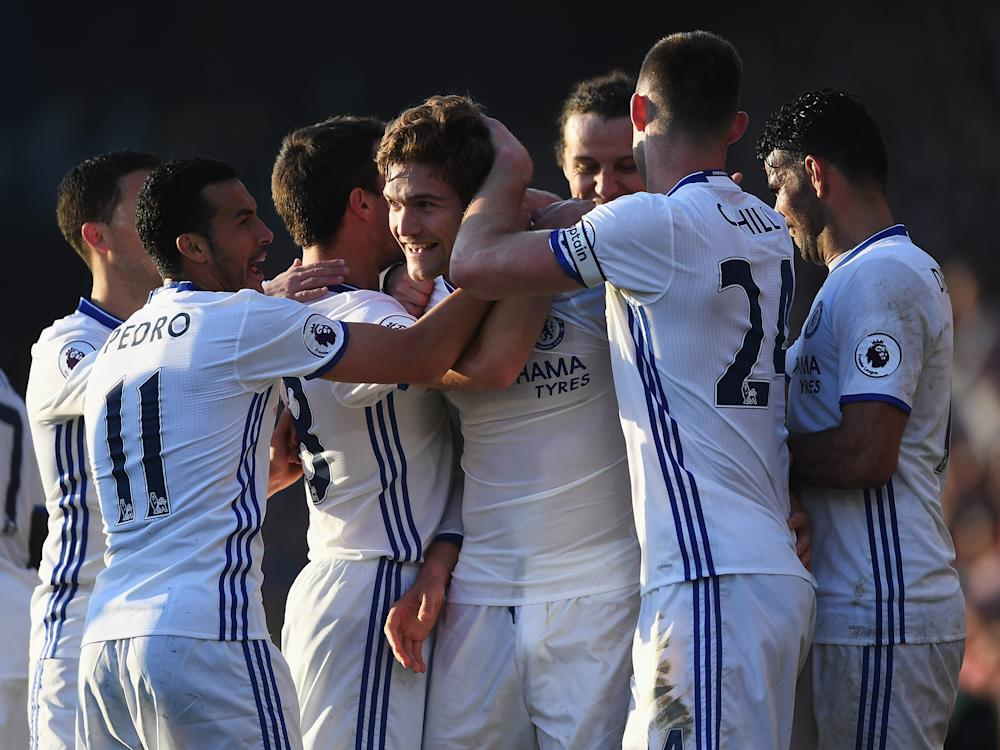 Marcos Alonso's whipped free-kick sealed all three points for Chelsea: Getty