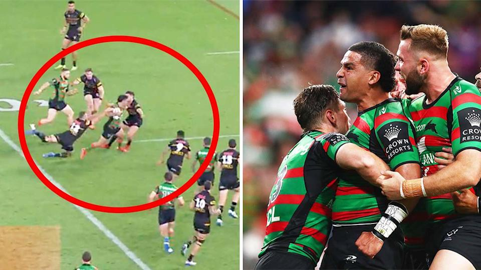 Cody Walker (pictured left) breaking the Panthers line and (pictured right) celebrating a solo try in the NRL grand final.