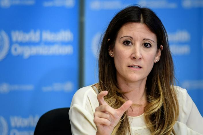 World Health Organization Technical Lead Maria Van Kerkhove speaks during a press briefing on COVID-19 at the WHO headquarters in Geneva on March 9, 2020. (Photo by FABRICE COFFRINI/AFP via Getty Images)