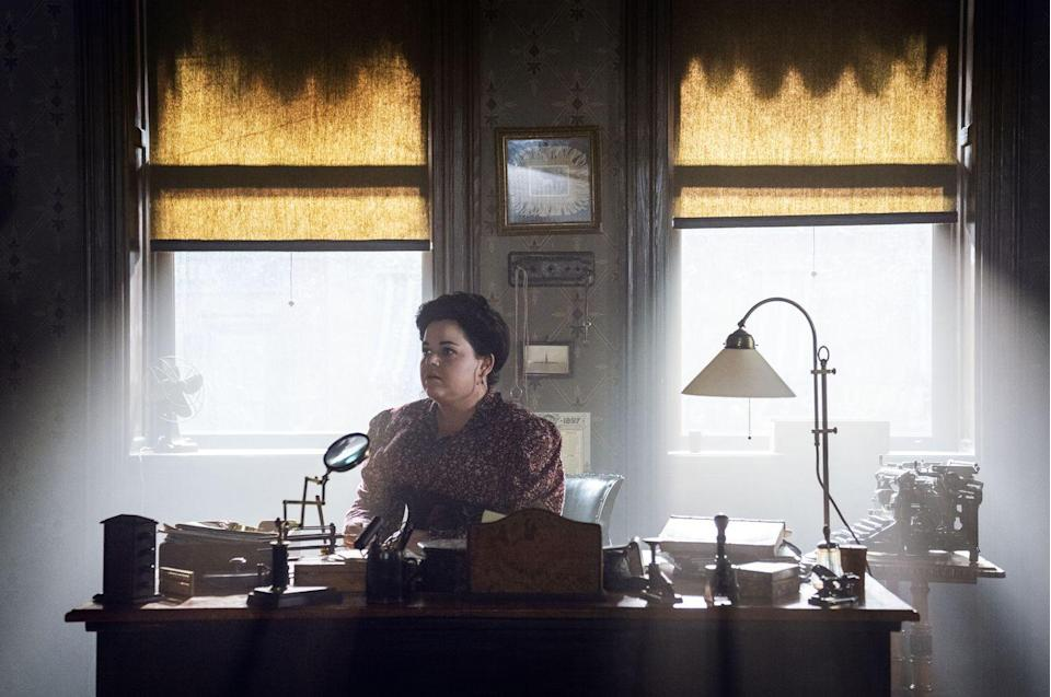 """<p>Sara's office was split into three separate spaces, Ammon explains.</p><p>""""We had a first room, which is very smart, well-tailored, had velvet fabric, little bits of lace, etching on the windows, and that gave it the feeling that would be okay for society women to come and sit and be interviewed.""""</p><p>The middle room (<em>pictured above</em>) was meant to be where the bulk of the actual detective work took place. """"She has two female assistants: a secretary, and an actual junior detective, who sit where the work is going on,"""" Ammon says. </p><p>""""And then we gave her her own office for privacy marking her ownership and independence.""""</p>"""