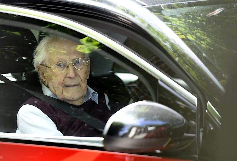 Oskar Groening was found guilty in July 2015 of being an accessory to the murders of 300,000 Jews at Auschwitz and sentenced to four years in prison (AFP Photo/TOBIAS SCHWARZ)