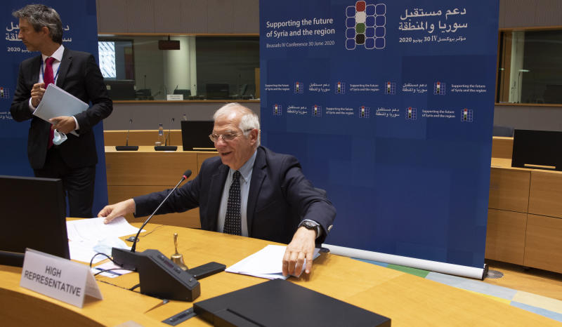 European Union foreign policy chief Josep Borrell begins a meeting, Supporting the future of Syria and the Region, in videoconference format at the European Council building in Brussels, Tuesday, June 30, 2020. (AP Photo/Virginia Mayo, Pool)