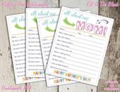 """<p><strong>pdotprintables</strong></p><p>etsy.com</p><p><strong>$2.00</strong></p><p><a href=""""https://go.redirectingat.com?id=74968X1596630&url=https%3A%2F%2Fwww.etsy.com%2Flisting%2F701256491%2Fall-about-my-mom-mothers-day&sref=https%3A%2F%2Fwww.womansday.com%2Frelationships%2Ffamily-friends%2Fg27191135%2Flast-minute-mothers-day-gifts%2F"""" rel=""""nofollow noopener"""" target=""""_blank"""" data-ylk=""""slk:Shop Now"""" class=""""link rapid-noclick-resp"""">Shop Now</a></p><p>This printable questionnaire allows even the littlest kids to join in on showering mom with affection. The fill-in-the-blank template asks all about your mom's favorite things and why they love her, which is sure to make her heart swell and eyes well.</p>"""