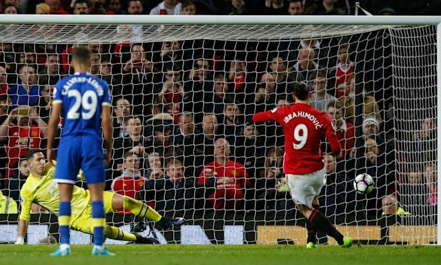 "<span class=""element-image__caption"">Manchester United's Zlatan Ibrahimovic scores from the penalty spot in injury-time to deny Everton victory at Old Trafford.</span> <span class=""element-image__credit"">Photograph: Andrew Yates/Reuters</span>"