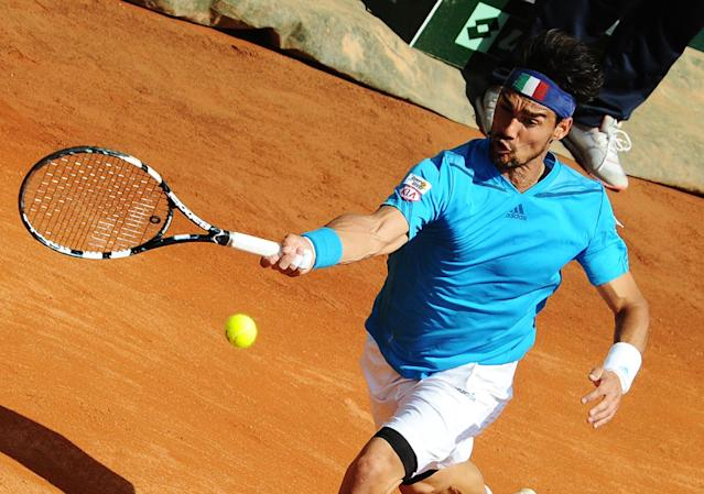 Italy's Fabio Fognini returns a ball to Britain's Andy Murray during a Davis Cup World Group quarterfinal match in Naples, Italy, Sunday, April 6, 2014. (AP Photo/Salvatore Laporta)
