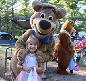Trick-or-treating and interactions with Yogi Bear characters are two of the most popular fall activities at Jellystone Park.