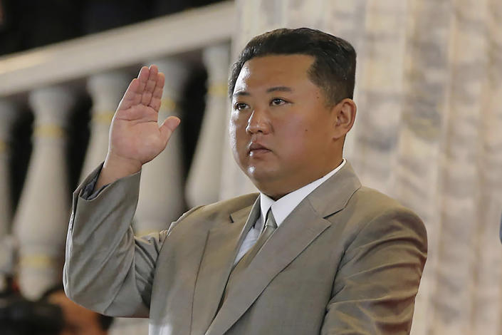 FILE - In this Sept. 9, 2021, file photo provided by the North Korean government, North Korean leader Kim Jong Un waves from a balcony toward the assembled troops and spectators during a celebration of the nation's 73rd anniversary at Kim Il Sung Square in Pyongyang, North Korea. North Korea's recent sword-rattling after months of relative quiet makes clear that leader Kim Jong Un is working on expanding his weapons arsenal. Independent journalists were not given access to cover the event depicted in this image distributed by the North Korean government. The content of this image is as provided and cannot be independently verified. (Korean Central News Agency/Korea News Service via AP, File)