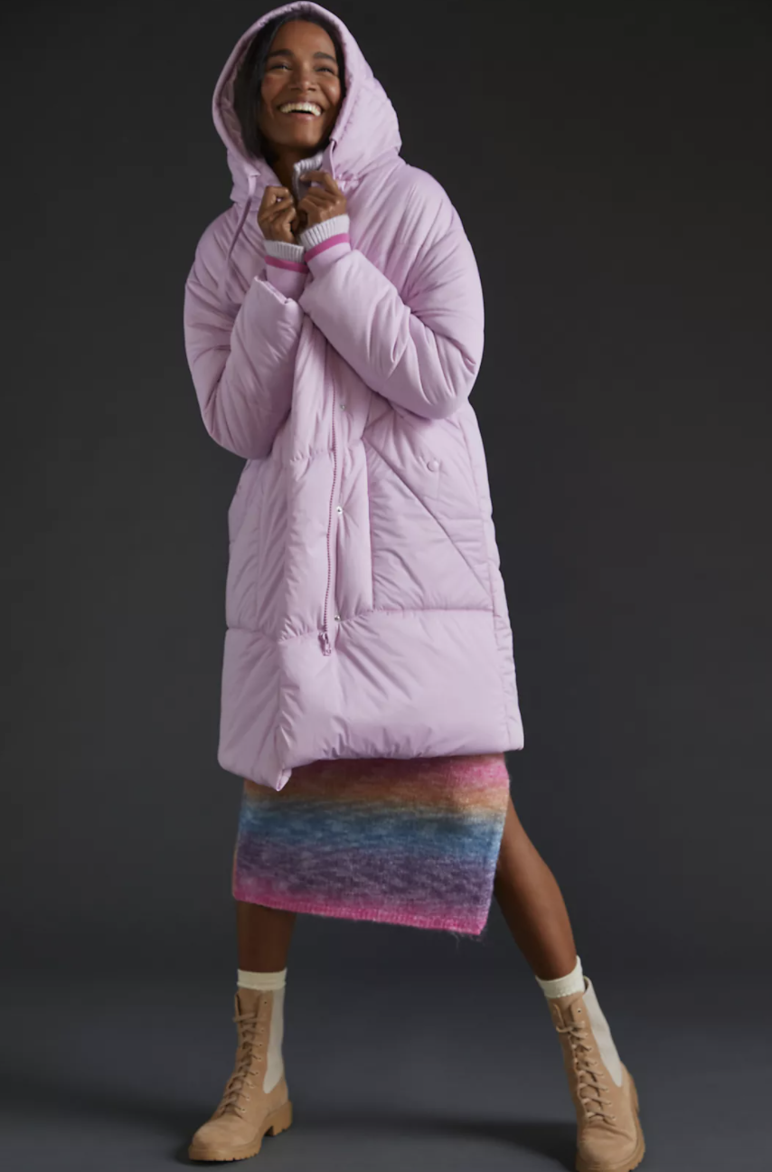 Contrast Puffer Coat in light pink coat and striped dress with bootie