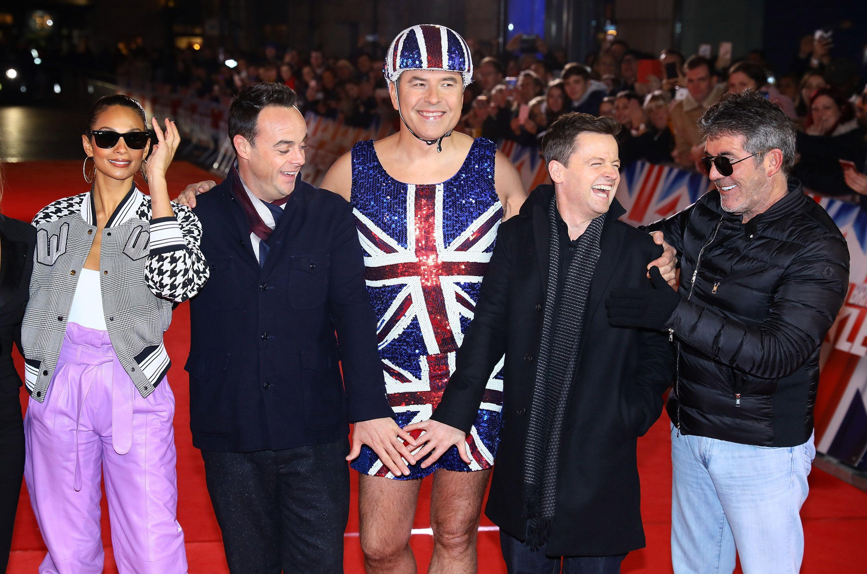 LONDON, ENGLAND - JANUARY 20: Alesha Dixon, Ant McPartlin, David Walliams, Declan Donnelly and Simon Cowell arrive at the Britain's Got Talent 2019 auditions held at London Palladium on January 20, 2019 in London, England. (Photo by Tim P. Whitby/Tim P. Whitby/Getty Images)