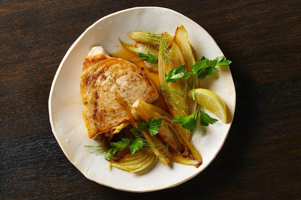 """Feel free to substitute chard and radicchio for the endive. <a href=""""https://www.bonappetit.com/recipe/seared-swordfish-fennel-endive?mbid=synd_yahoo_rss"""" rel=""""nofollow noopener"""" target=""""_blank"""" data-ylk=""""slk:See recipe."""" class=""""link rapid-noclick-resp"""">See recipe.</a>"""